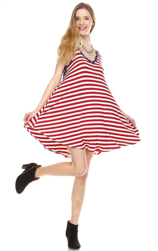 American Flag Dress Navy Star Collar V Red White Stripes 1
