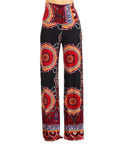 Foldover Palazzo Pants Tropical Black Maroon Orange