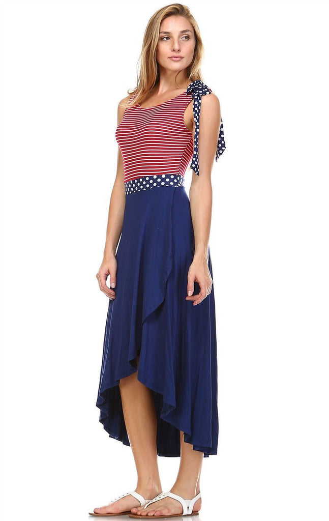 American Flag Dress Red Stripe 2 Top Navy Polka Dot Navy