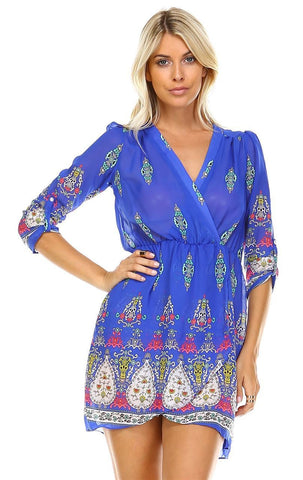Tunic Top Blouse Royal Blue