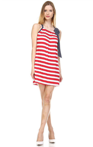 American Flag Dress Navy Striped Bow Red Stripes 1