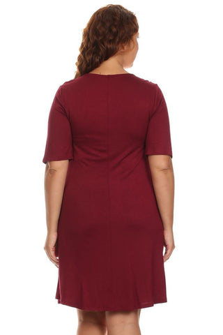 Plus Size Dresses with Sleeves with Pockets Coral