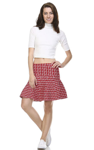 Pleated Skirt with High Waisted Skater Flare Checkered Red