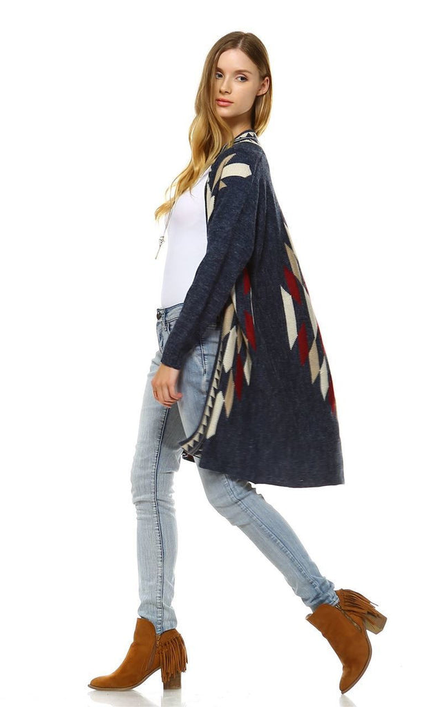 Long Aztec Cardigan Tribal Sweater Border Diamond Navy