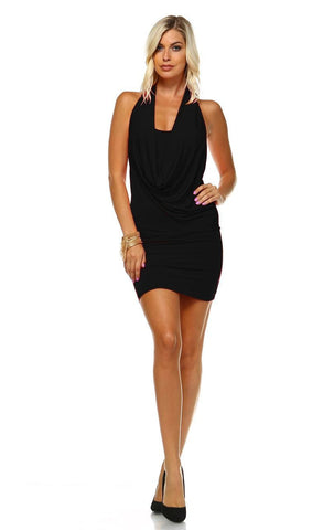 Club Dresses Bodycon with Cowl Neck and Open Back Black