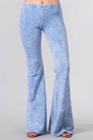 Bell Bottoms Yoga Pants Denim Colored Lavender Blue