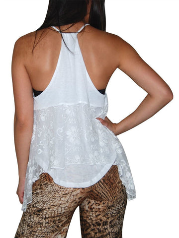 Blouses Sleeveless Top Lace Butterfly White