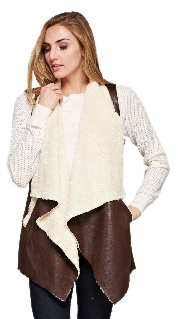 Shearling Faux Fur Vest with Suede and Pockets Brown