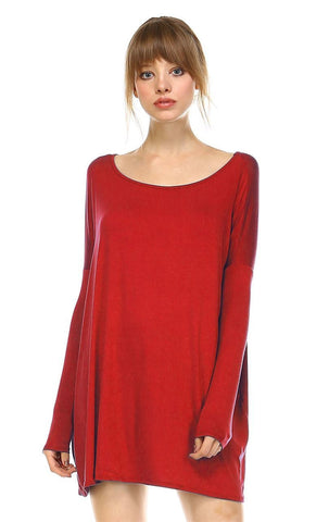 Tunic Top Shirt Dress Oversized Round Neck Long Sleeve Red
