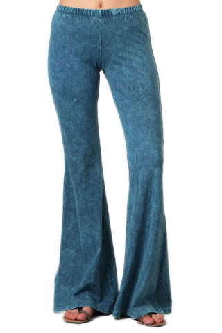 Bell Bottoms Yoga Pants Denim Colored Cyan