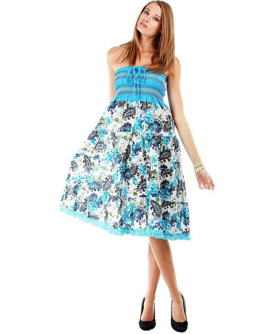 Blue Detailed Strapless Floral Paisley Boho Sun Dress