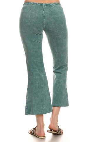 Cropped Pants High Waist Flare Denim Emerald