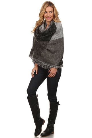 Black Gray Viscose Wool Blanket Cardigan Poncho One Size