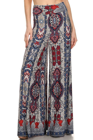 Foldover Palazzo Pants Earth Paisley Brown Red Green
