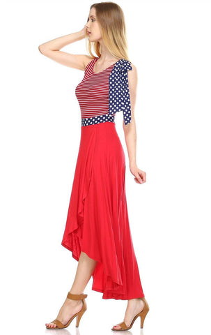 American Flag Maxi Dress Red Stripe Top Navy Polka Dot Bow 1
