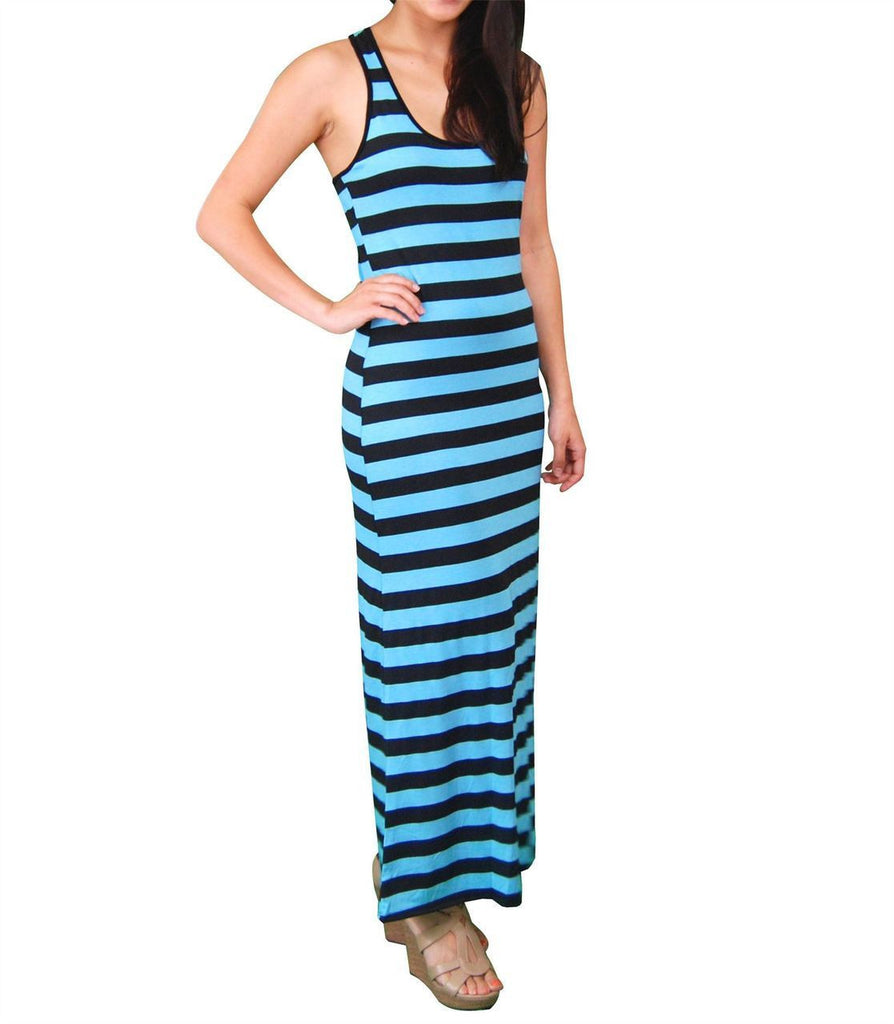 Racerback Maxi Dress Sky Blue Black