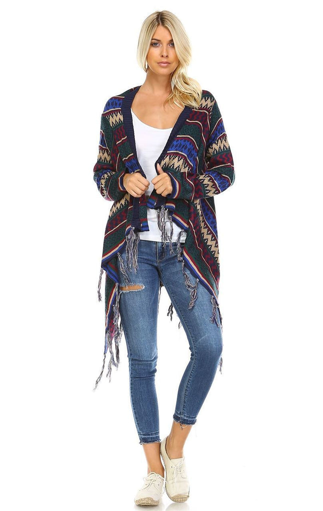 Open Front Oversized Fringe Cardigan with Winter Print Navy