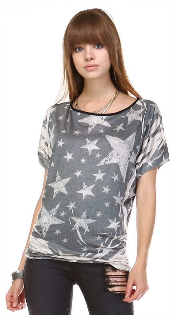 Patriotic Shirt Short Sleeve Big Star Gray