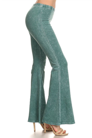 Bell Bottoms Yoga Pants Denim Colored Emerald