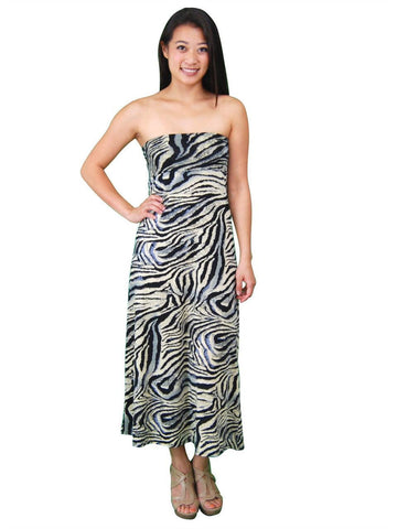 Black Silver Tiger Foldover Maxi Skirt