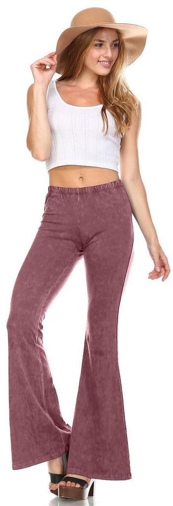 Bell Bottoms Denim Colored Yoga Pants Mauve