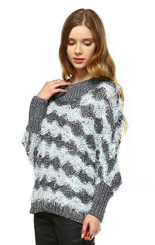 Fuzzy Sweater Doleman Sleeve Pullover Gray Blue