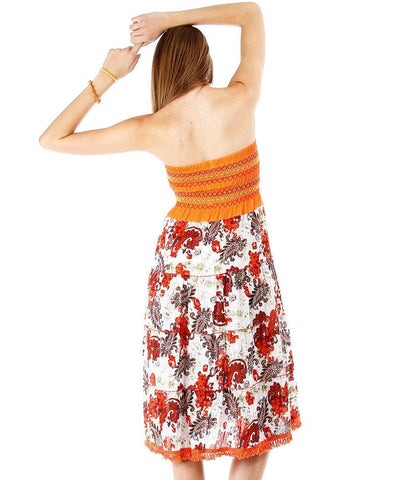 Orange Detailed Strapless Floral Paisley Boho Sun Dress