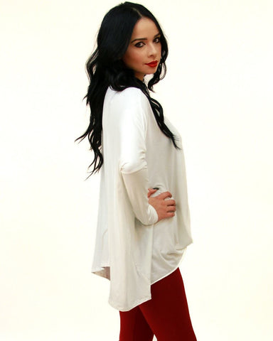Tunic Top Shirt Dress Twist Top Long Sleeve Ivory White