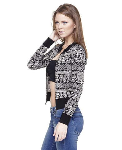 Acyrlic Shiny Short Jacket Native Aztec Black Silver