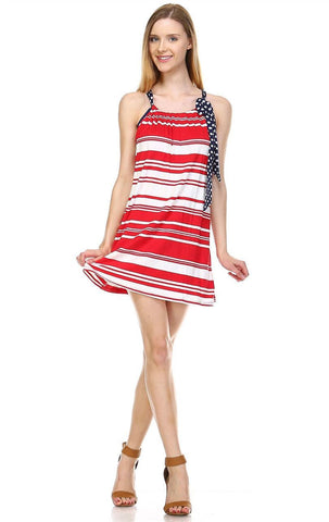 Red Stripe 3 Tunic Dress with Navy Polka Dot Shoulder Bow