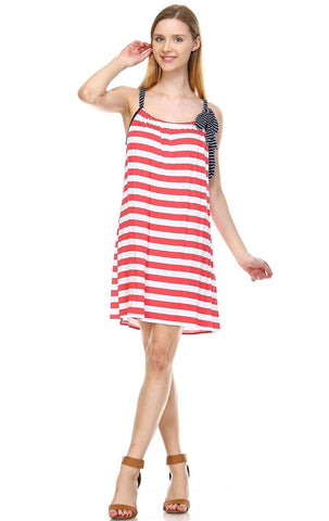 Coral Stripes Tunic Dress with Navy Stripe Shoulder Bow
