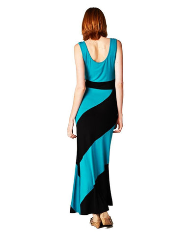 Sleeveless Tank Top Dress Colorblock Candy Cane Teal