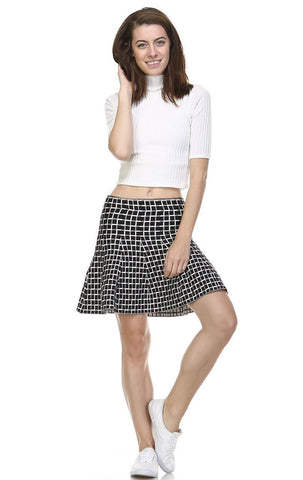 Pleated Skirt with High Waisted Skater Flare Checkered Black