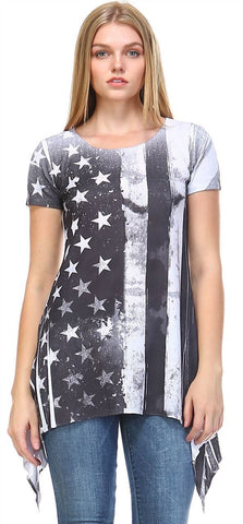 Patriotic Shirt Short Sleeve Grudge Big Flag Gray