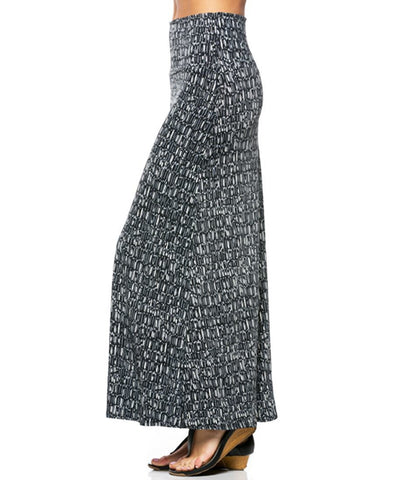 Tiny Vertical Bars Gray White Black Foldover Maxi Skirt