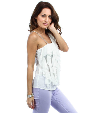One Shoulder Ruffle Front Blouse Off White Ivory