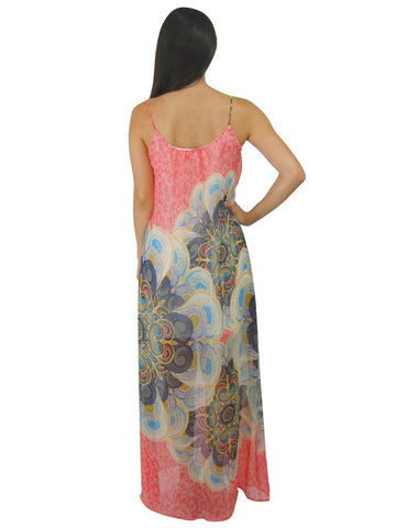 Maxi Dress Sleeveless Chiffon Coral Pink Paisley