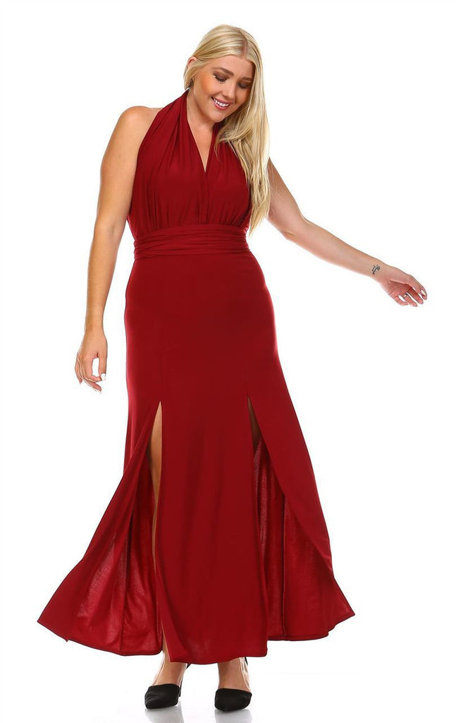 Plus Size Sleeveless Magic Transformer Maxi Dress Burgundy
