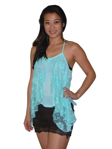 Blouses Sleeveless Top Lace Butterfly Blue