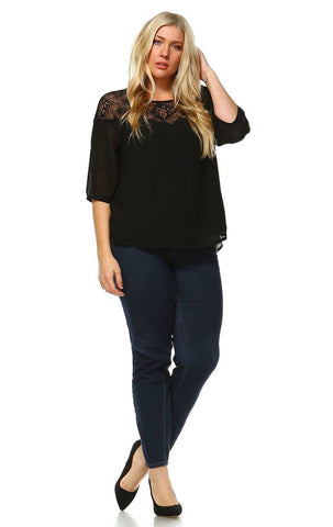 Plus Size Lace Shirt Long Sleeves Floral Square Black