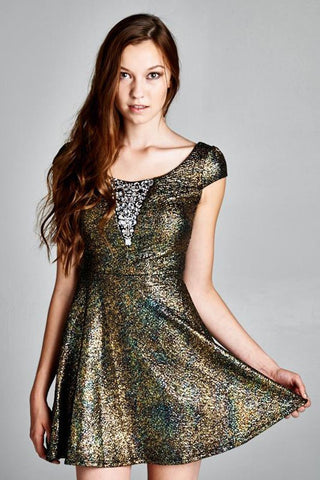 Glitter Party Skater Dress Rhinestone Neckline Gold