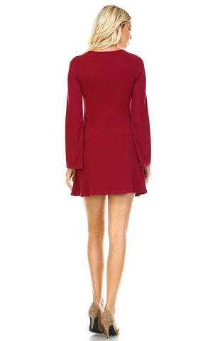Tunic Top Fitted Dress with Long Bell Sleeves Burgundy