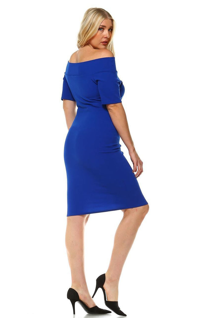Plus Size Off Shoulder Bodycon Cocktail Dress Royal Blue