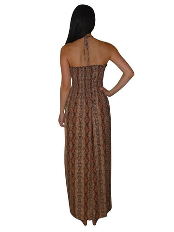 Animal Print Silky Strapless Dress Brown Snake Skin Tribal