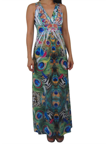Premium Sleeveless Sublimation Maxi Dress Royal Peackcock Green
