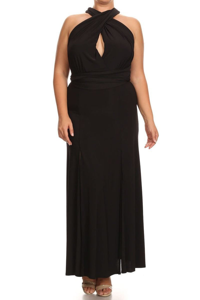 Plus Size Sleeveless Magic Transformer Maxi Dress Black