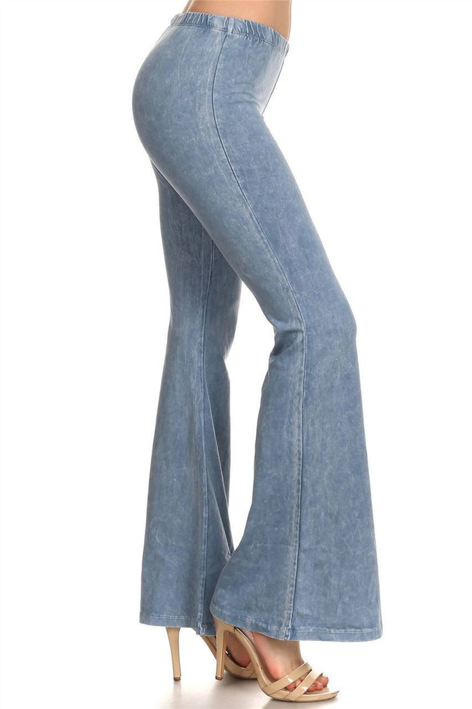 Bell Bottoms Denim Colored Yoga Pants Light Denim Blue