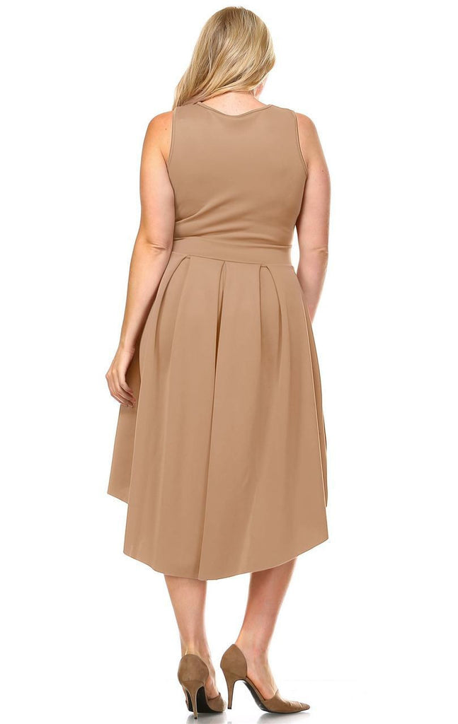 Plus Size Pleated Midi Cocktail Dress with Empire Waist Mocha