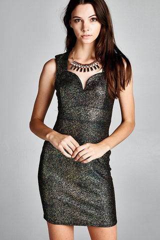 Glitter Party Mini Dress with Necklace Gold