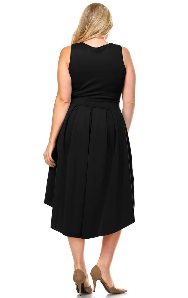 Plus Size Pleated Midi Cocktail Dress with Empire Waist Black